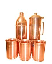 Tera India Copper Water Bottle - Fridge Bottle & Copper Jug With Set Of 6 Copper Glasses, Brown