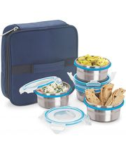 Steel Lock HL- 1241 Airtight 4 Pc Lock Steel Lunch / Meal Box With Insulated Bag, Multicolor