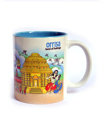 Indiavibes Coffee Tea Odisha Theme Printed Ceramic Mug, multicolor