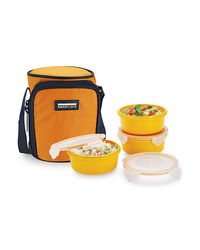 Smart Lock Sml-303 Airtight Tiffin Box With Insulated Bag Melamine 3 Pc Set,  yellow