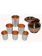 Tera India Matka With Cover+ 6 Glasses Combo Set - RI_ Prod_ 0044, Mul...