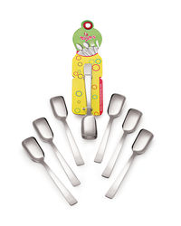Roop's Ice-Cream Spoon Stainless Steel 6 Pc Set,  silver