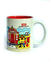 Indiavibes Coffee Tea Goa Theme Printed Ceramic Mug, multicolor