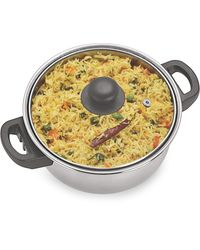 Sizzle Stainless Steel Kadai with Glass Lid 900 ml 1 PC, silver