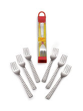 Roops Dessert Fork Checkers Stainless Steel Silver...