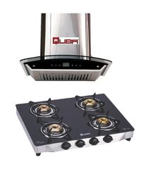 Quba Electric Chimney 1015 With Quba 4 Burner Gas Stove G402A, multicolor