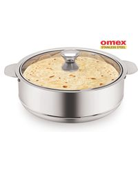 Omex Stainless Steel 2600 ml Casserole with glass Lid Dia-22 Cm 1 Pc,  silver