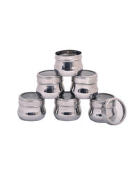 Paanjo Micro Container Multi Purpose Bottle Set of 6 125 ml, silver