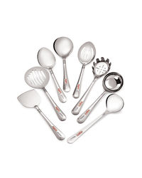 Roops Serving Spoon 8 Pcs Set Lovely,  silver