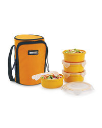 Smart Lock Sml-304 Airtight Tiffin Box With Insulated Bag Melamine 4 Pc Set,  yellow
