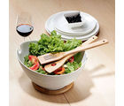 Mom Italy Ark Salad Bowl With Bamboo Base And Bamboo Fork & Ladle-CZ910768W, multicolor