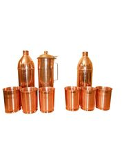 Tera India 2 Copper Bottle & Copper Fridge Bottle With Set Of 6 Copper Glasses, Brown