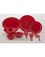 Valerio Grapefruit Red: Melamine Dinner Set