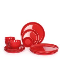 Gluman Microwave Safe Dinner Set - 24 Pcs Round Red,  red