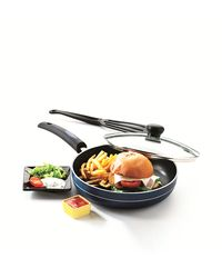 RECON MasterChef Non Stick Fry Pan With Glass Lid 255mm,  blue