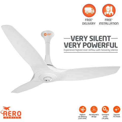 Orient Aeroquiet 1200mm Ceiling Fan,  white