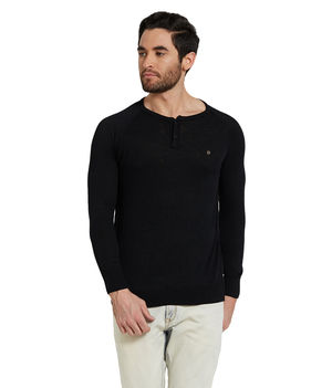 Solid Henley T-Shirt,  black, s