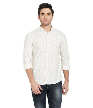 Printed Shirt In Slim Fit,  white, l