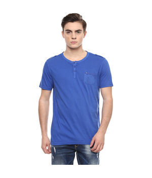 Solid Stand Collar Neck T-Shirt, s,  royal blue