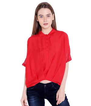 Solid Collar Top,  red, s