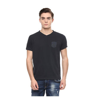 Solid V Neck T-Shirt, s,  black