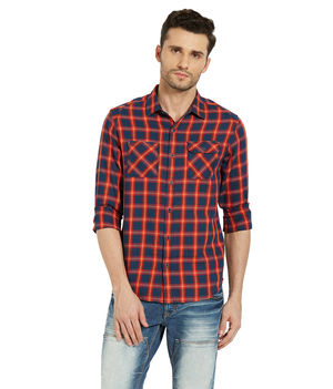 Checks Shirt In Slim Fit,  orange, s