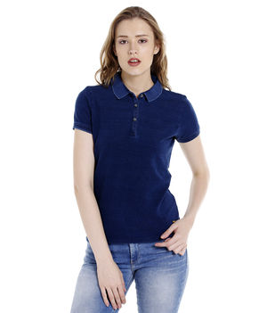 Solid Polo Collar T-Shirt,  mid blue, 2xl