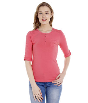 Solid Round Neck T-Shirt,  pink, s