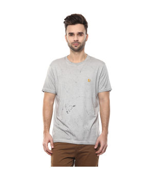 Solid Round Neck T-Shirt,  grey, s