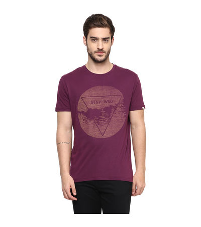 Graphic Round Neck Print T-Shirt, m,  wine