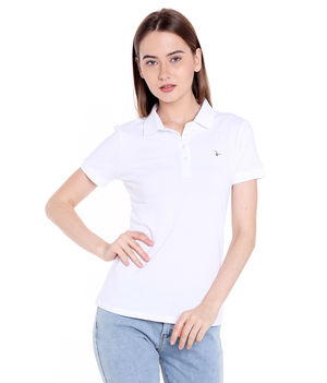 Solid Polo Collar T-Shirt,  white, l