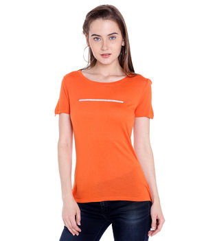 Solid Scoop Neck T-Shirt,  orange, 2xl
