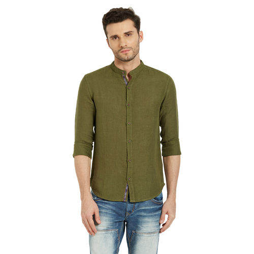 Solid Shirt In Slim Fit, m,  green
