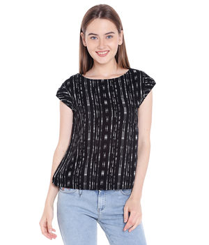 Printed Round Neck Top,  black, 2xl