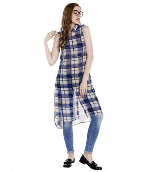 Checks Regular Dress,  blue, l