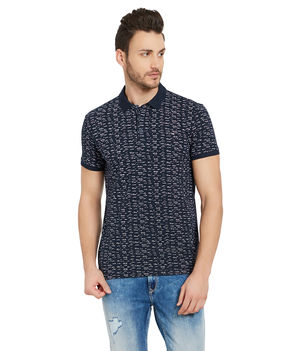 Printed Henley T-Shirt, s,  navy
