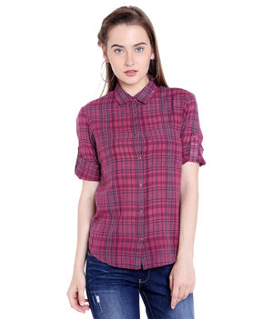 Checks Shirt,  maroon, m