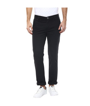 Solid Flat Front Chinos,  black, 32