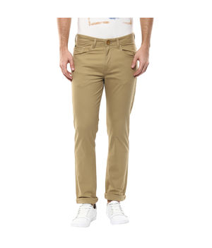 Solid Flat Front Trousers,  khaki, 34