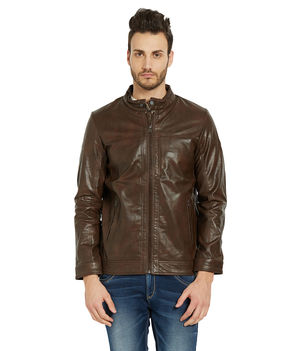 Solid Jacket In Relax Fit,  brown, m