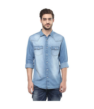 Solid Denim Regular Shirt, s,  mid blue