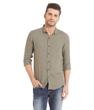 Solid Shirt In Slim Fit, xl,  sage green