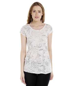 Printed Round Neck T-Shirt,  ecru, 2xl