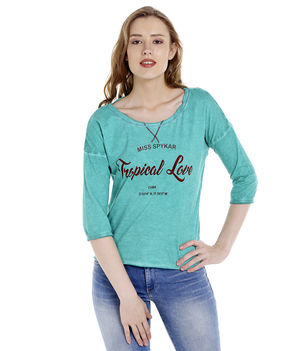 Printed Round Neck T-Shirt,  green, 2xl