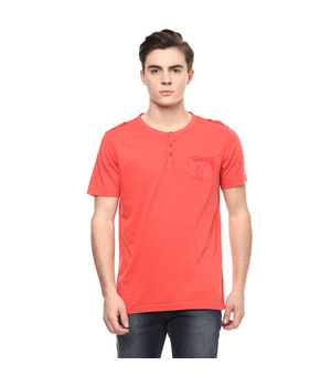 Solid Stand Collar Neck T-Shirt, m,  brick red