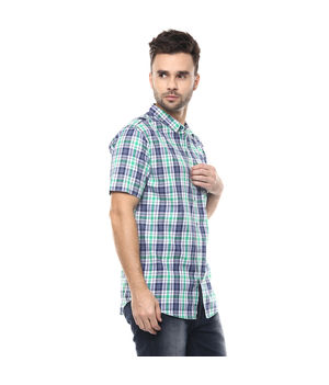 Checks Cutaway Slim Fit Shirt,  navy/green, s