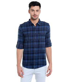 Checks Cut Away Slim Fit Shirt,  navy, s