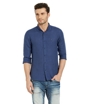 Solid Mandarin Slim Fit Shirt, l,  blue