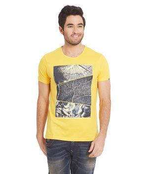 Printed Round Neck T-Shirt, l,  yellow