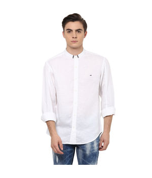 Solid Stand Collar Shirt, s,  white